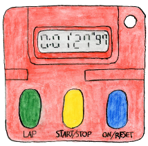 A drawing of a stopwatch