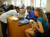 Students with a dog